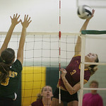Amherst's Riley Schenk defends against a Lauren Bakaitis spike.