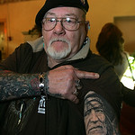 29JAN12  Country singer Willie Nelson arrived in Lorain to play a fundraiser concert for Dennis Kucinich.   &quot;Big Ed&quot; Roberts, 72, of Big Ed&#039;s Tattooing on N. Ridge Rd. in Elyria Twp. rolls u &#8230;