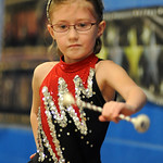 Shayla Oates, a second grader at Windsor Elementary, twirles the baton to the 'Stray Cat Strut' in the qualifying round of the Windsor Elementary Talent Show on Apr. 14. A total of 33 acts …