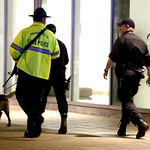 Officials patrol an area at Massachusetts Institute of Technology following reports of a shooting, Thursday, April 18, 2013, in Boston. State police say a campus police officer at the school …