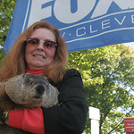 Lana Laughbaum holds Punxsutawney Phil — legendary for his February 2 forecasts every year. Both are from Punxsutawney, Pennsylvania.