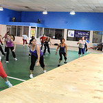 Angela Rigsby, right, a Zumba instructor, teaches a Zumba class at the old Lorain YMCA on Tower Blvd. Apr. 20.   Steve Manheim