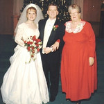 Eva Mae Pugh, right, at her grandson's wedding in the 1990s. The bride and groom are Leslie and Mike Pugh.