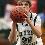 Conner Riddell just before sinking two foul shots. photo by Ray Riedel