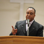 Pastor Dennis Johnson, of Fairfield Baptist Church addresses the congregation at the Lorain Branch NAACP Annual Rev. Dr. Martin Luther King Jr. Observance, Sunday evening. photo by Ray Riede …