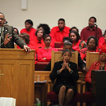Pastor Loversier Lewis, of Second Baptist Church in Lorain, provides the closing remarks for the  Lorain Branch NAACP Annual Rev. Dr. Martin Luther King Jr. Observance, Sunday evening.  phot …