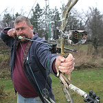 Tim Byrd of Grafton talks about bow hunting for 15 Minutes.  photo by Chuck Humel
