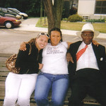 "Sylvester Cooper, right, with two neighbors – Kaye ""Lani"" and Buffie – at Harr Plaza in the summer of 2008."