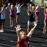 The Avon Lake cheerleaders practice cheers at Avon Lake High School on Aug. 27. KRISTIN BAUER | CHRONICLE