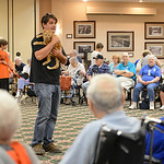 Greg Willey, from Friendship APL, holds Saber the cat during a special show at Wesleyan Village on Aug. 15.  Saber is one of many cats up for adoption at Friendship APL. KRISTIN BAUER | CHRO …