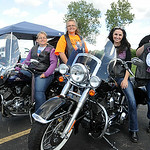 Bonnie Napier, left, Christine Jones, Lisa Thuning and Teresa Cole, organizers of the Celtic Sisters Women's Motorcycle Club, are seen at Quaker Steak and Lube in Sheffield Village on Aug. 1 …