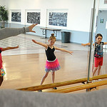Instructor Colleen Dziak, left,  teaches ballet basics to Adrianna Rotuno, Bella Truxall , Alyssa Thompson and Khloe Racz on the first day of Ballet and Jazz Dance Combo class at Elyria YWCA …