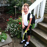 She's all smiles on her first day of kindergarten at Elyria Community Elementary.