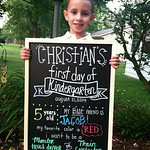 Christian is ready for his first day of kindergarten for at St. Jude Elyria.