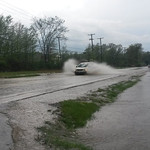 Cooper Foster Road was under water on Monday evening.
