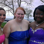Three friends pose before Lorain's prom.