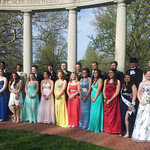 Students take a group photo before Oberlin's prom on May 10.