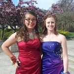 Stacy Krueck and Ashley Krueck pose before Oberlin's prom.