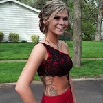 Elyria High senior Mia Hall poses before prom on May 10.