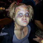 Maddison Lago, 9, turned into a zombie for Halloween.