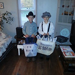 Maxwell, 8, and Broderick, 7, are ready to get to work.