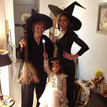 Kay,70, left, Haley, 26, and Glenda the Good Witch Kennedy, 4, call themselves the witches of Elyria retirement center.