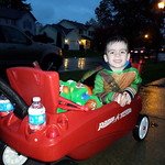 Gavin Rico, 3, wasn't deterred by the wet weather Halloween night.