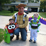 The Toy Story Gang is all here: Elliott, 22 months old, as Mr. Potato Head, dad Russell, 29, as Woody, and Jameson, 3, as Buzz Lightyear.