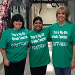 Mrs. Templeton, Mrs. Peiris and Mrs. Namestnik, fourth-grade teachers at Copopa Elementary School in Columbia Station, dressed up as fourth-grade teachers.