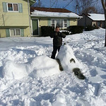 Marcy Novak and her son, Sam, made a snow Snoopy.