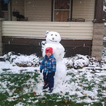 Edwin Masters, 2, used all the snow he could find to build this snowman in Elyria on Nov. 12.