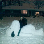 Steven and Michelle Walsh built a Snow Snoopy on Dec. 14.