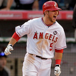 ** CORRECTS ANGELS PLAYER SCORED TO HOWIE KENDRICK  ** Los Angeles Angels' Jeff Mathis (5) reacts as he rounds first after hitting a double to score Howie Kendrick  to beat the Yankees 5-4 i …