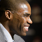 Cleveland Cavaliers' Antawn Jamison smiles as he answers questions during a news conference Thursday, Feb. 18, 2010, in Cleveland. The best team in the league filled its last glaring hole wh …