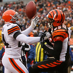 Cleveland Browns cornerback Sheldon Brown (24) breaks up a pass in the end zone intended for Cincinnati Bengals wide receiver Chad Ochocinco (85) in the second half of an NFL football game,  …