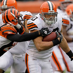 Cleveland Browns running back Peyton Hillis (40) is tackled by Cincinnati Bengals cornerback Johnathan Joseph (22) in the second half of an NFL football game, Sunday, Dec. 19, 2010, in Cinci …