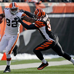 Cleveland Browns tight end Benjamin Watson (82) is pushed out of bounds by Cincinnati Bengals safety Roy L. Williams (31) in the first half of an NFL football game, Sunday, Dec. 19, 2010, in …