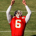 Kansas City Chiefs' Ryan Succop (6) reacts after kicking a field goal during the first quarter of an NFL football game against the Cleveland Browns, Sunday, Dec. 20, 2009, in Kansas City, Mo …