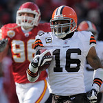 Cleveland Browns wide receiver Josh Cribbs (16) returns a kick 103 yards past Kansas City Chiefs' Andy Studebaker (96) during the first half of an NFL football game Sunday, Dec. 20, 2009, in …