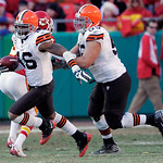 Cleveland Browns wide receiver Josh Cribbs (16) returns a kick 103 yards for a touchdown as Browns center Alex Mack blocks during the first half of an NFL football game against the Kansas Ci …