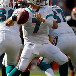 Miami Dolphins quarterback Chad Henne (7) stands back to pass in the second quarter during an NFL football game against the Cleveland Browns in Miami, Sunday, Dec. 5, 2010. (AP Photo/Wilfred …