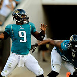 Jacksonville Jaguars quarterback David Garrard (9) throws a touchdown pass during the second half of an NFL football game against the Cleveland Browns, Sunday, Nov. 21, 2010, in Jacksonville …