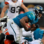 Jacksonville Jaguars running back Maurice Jones-Drew (32) rushes for a touchdown during the second half of an NFL football game against the Cleveland Browns, Sunday, Nov. 21, 2010, in Jackso …