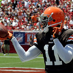 Cleveland Browns wide receiver Mohamed Massaquoi celebrates after catching a first quarter touchown pass from quarterback Jake Delhomme during an NFL football game against the Tampa Bay Bucc …