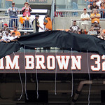 A cover is lifter to reveal the name of Jim Brown as the Cleveland Browns honored 16 Hall of Fame players in their Ring of Honor at halftime of an NFL football game between the Browns and Ka …