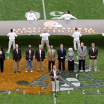 The ceremony inducting the first members of the Cleveland Browns Ring of Honor, the teams 16 member of the Pro Football Hall of Fame ,is held in the middle of Cleveland Browns Stadium during …