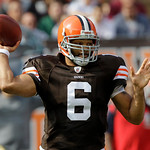 Cleveland Browns quarterback Seneca Wallace passes during the fourth quarter of an NFL football game against the Kansas City Chiefs Sunday, Sept. 19, 2010, in Cleveland. Wallace passed for 2 …
