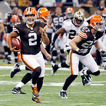 Cleveland Browns punter Reggie Hodges (2) rushes for 68 yards on a fake punt during the second quarter of an NFL football game at the Louisiana Superdome, Sunday, Oct. 24, 2010, in New Orlea …