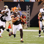 Cleveland Browns punter Reggie Hodges (2) rushes for 68 yards on a fake punt during the second quarter of an NFL football game against the New Orleans Saints at the Louisiana Superdome, Sund …