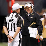New Orleans Saints head coach Sean Payton talks with referee Walt Coleman (65) during an NFL football game against the Cleveland Browns at the Louisiana Superdome, Sunday, Oct. 24, 2010, in …